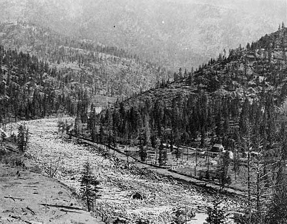 The Blackfoot River floated logs to the mill until 1926.