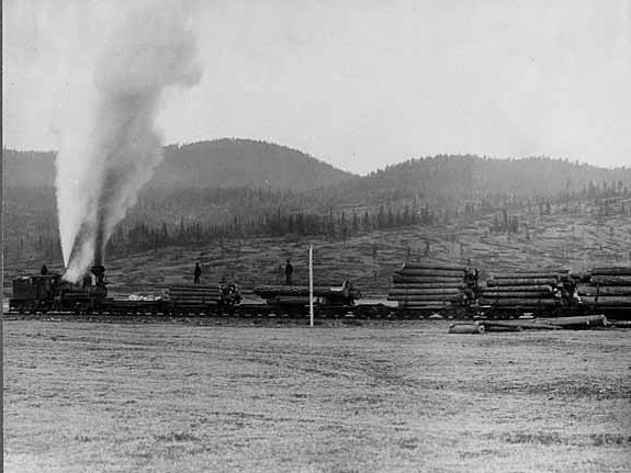 Trains brought logs to the mill until the 1930s, when they were replaced by logging trucks.