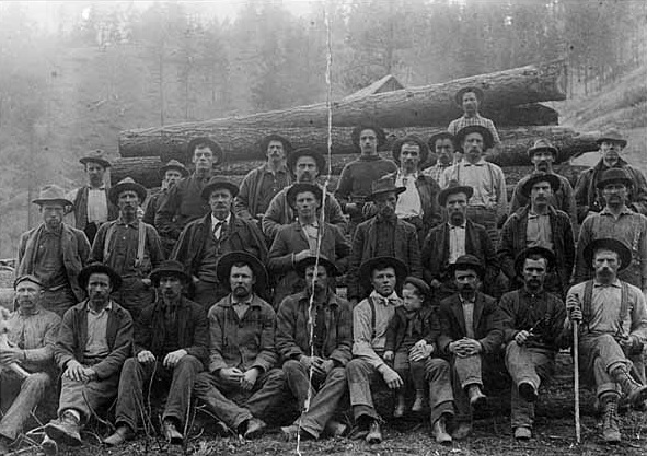 An early day logging crew in the Blackfoot