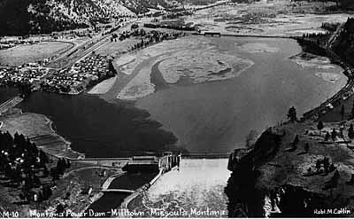 An aerial photo of the Milltown Reservoir from the late 1930s.